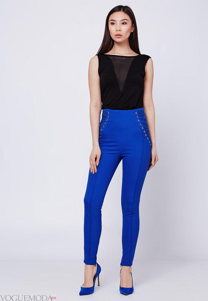 брюки скинни с высокой талией