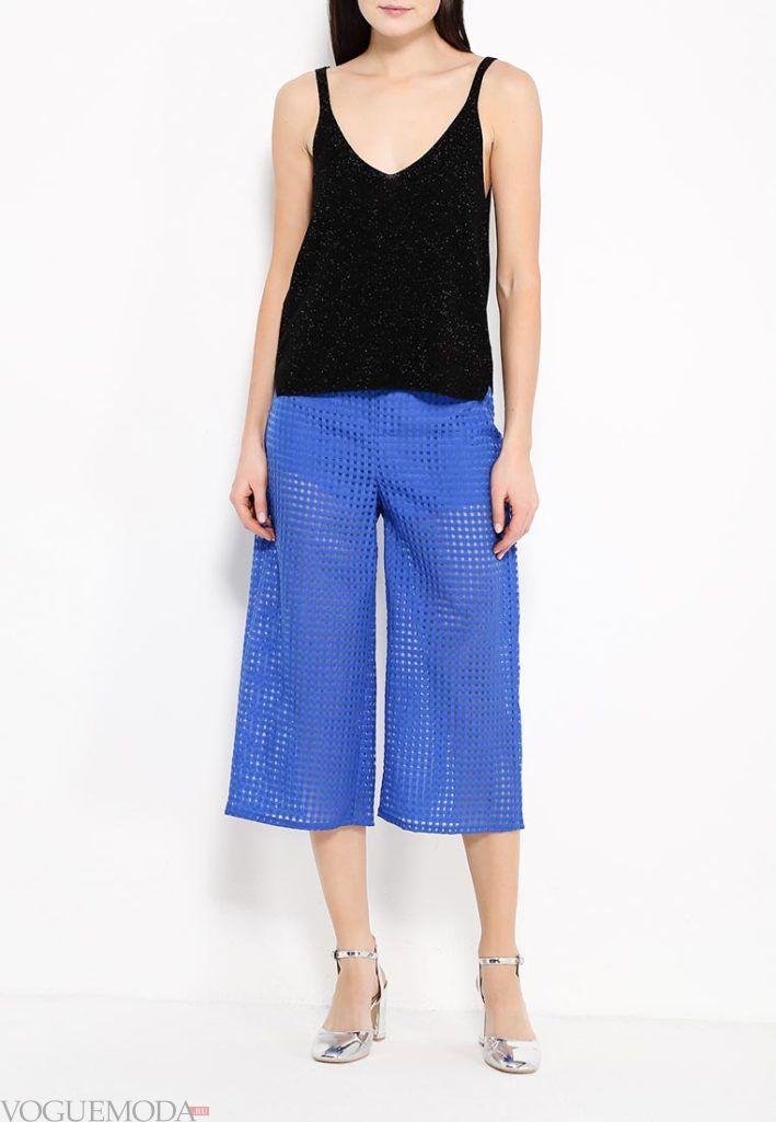 ярки синие брюки клеш кружевные