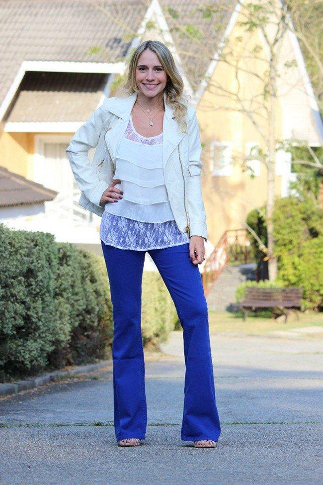 лук ярки синие брюки клеш