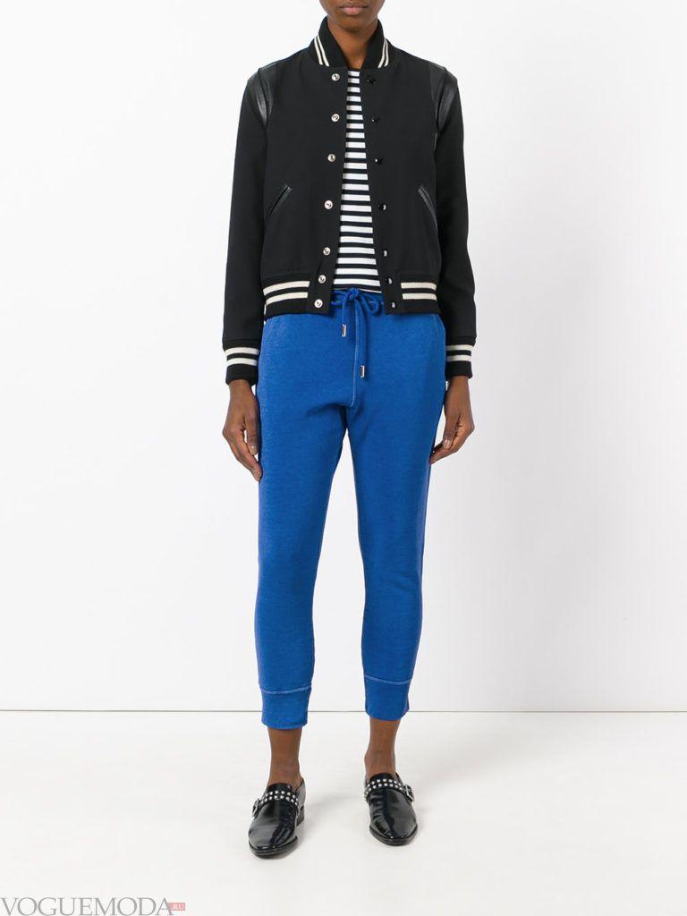 лук ярко синие спортивные брюки
