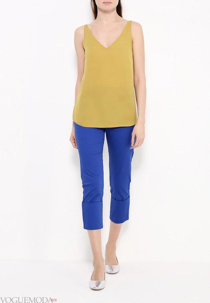 лук ярко синие брюки с желтым топом