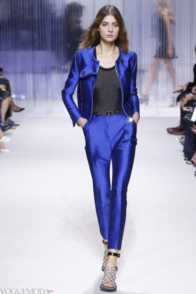 лук ярко синие брюки блестящие