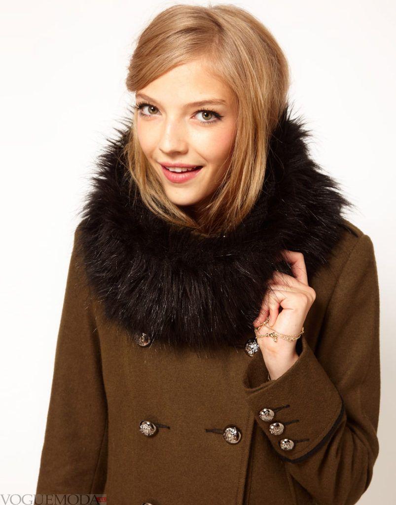 шарф снуд с пальто меховой