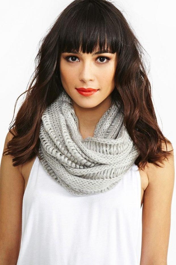 легкий шарф снуд серый