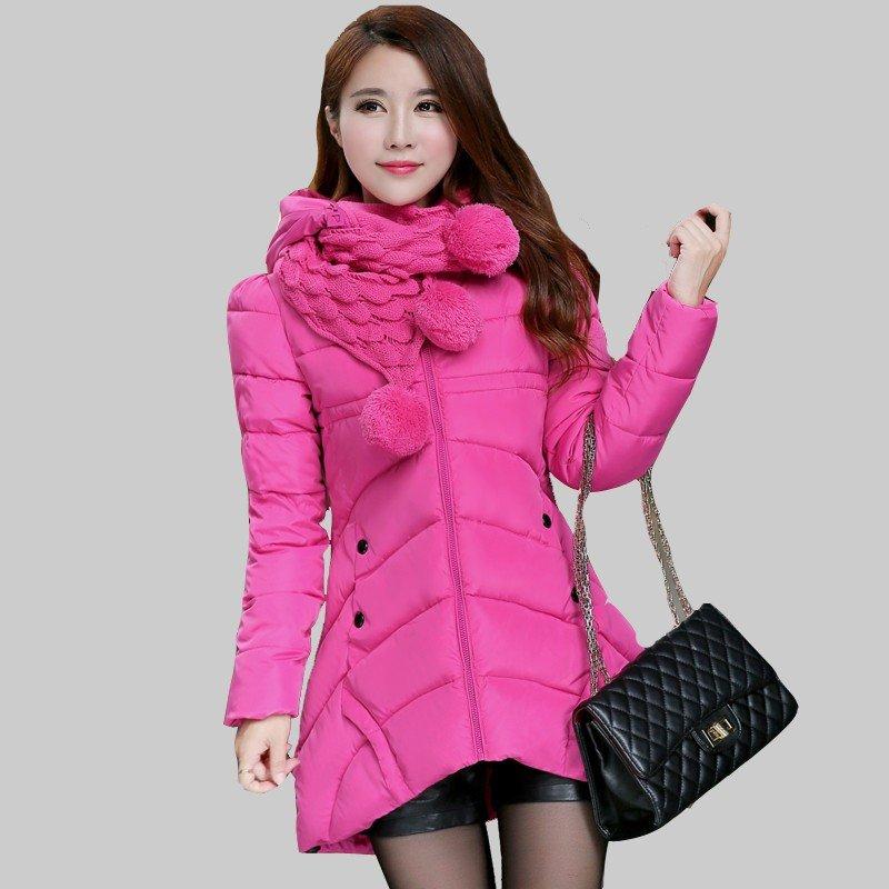 шарф снуд с пуховиком розовый