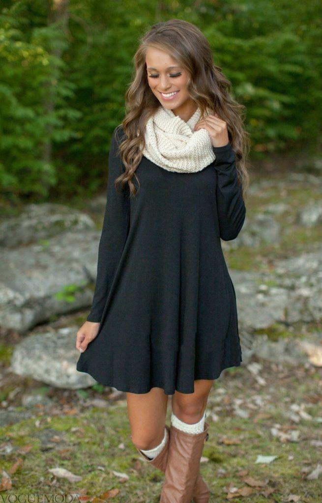 шарф снуд с платьем