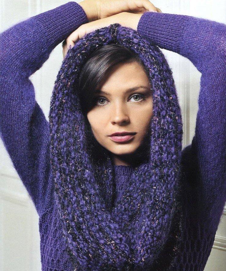 шарф снуд фиолетовый
