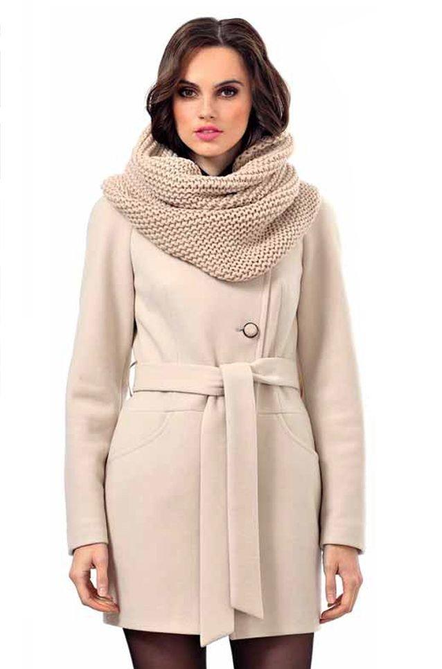 шарф снуд с пальто бежевый