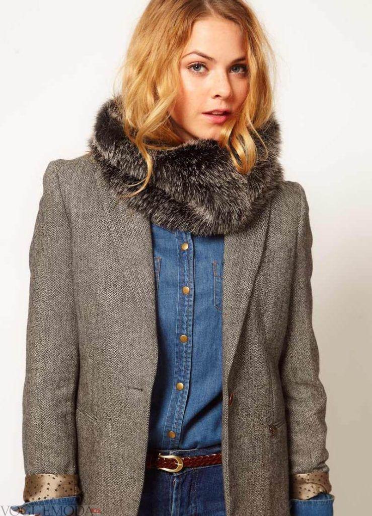 шарф снуд с пальто темный