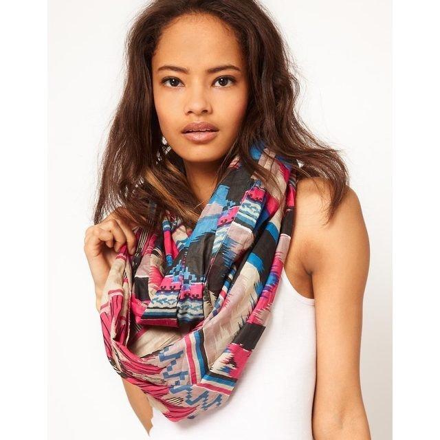 легкий шарф снуд с принтом