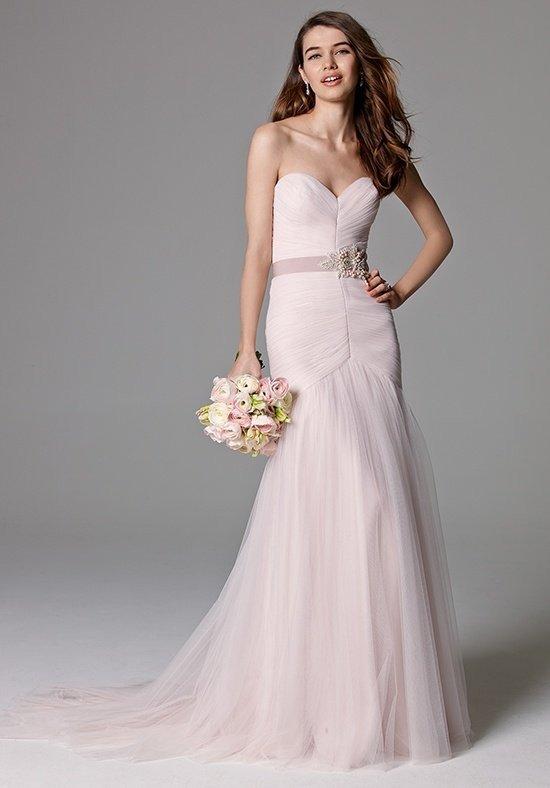 фото свадебных платьев: цветное розовое