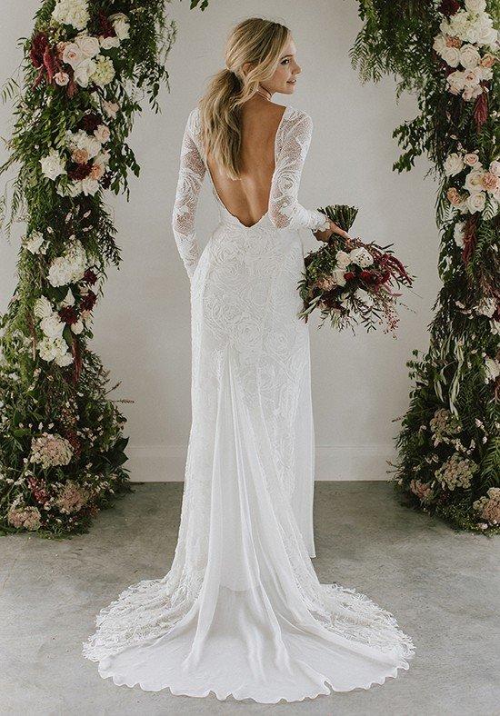 свадебное платье с открытой спиной кружевное
