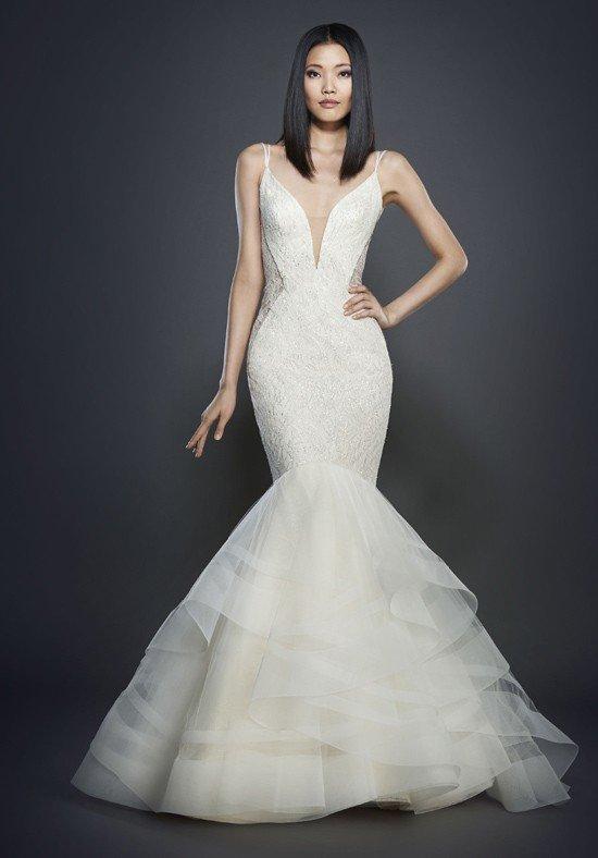 свадебное платье-русалка с вырезом
