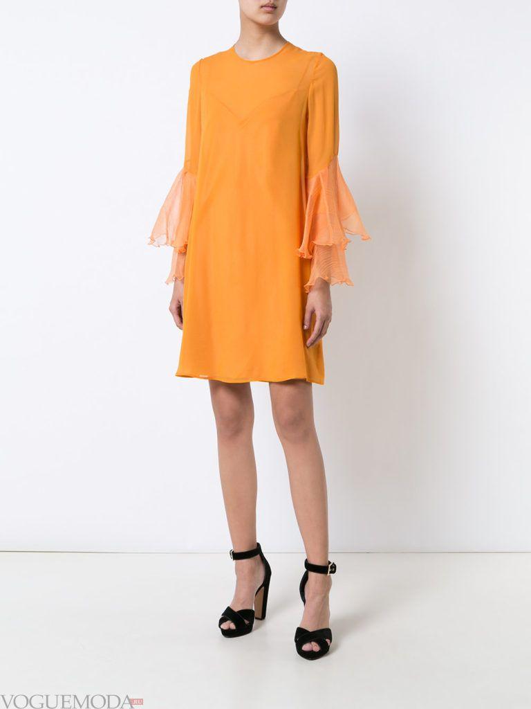 оранжевое платье для встречи года крысы короткое