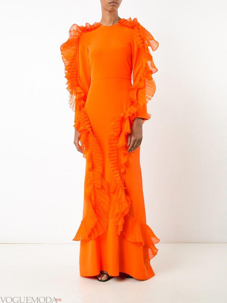 оранжевое платье для встречи года крысы с воланы