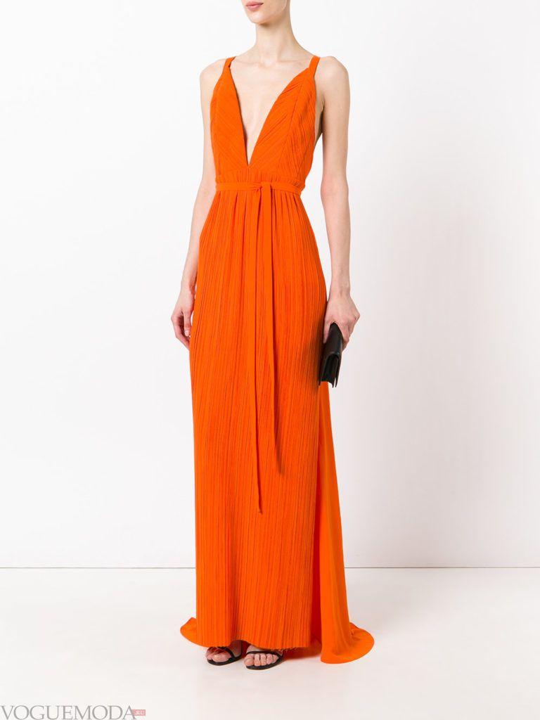 оранжевое платье для встречи года крысы длинное