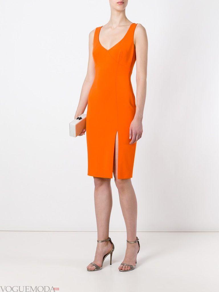 оранжевое платье для встречи года крысы с разрезом