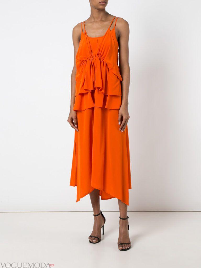оранжевое платье для встречи года крысы многослойное