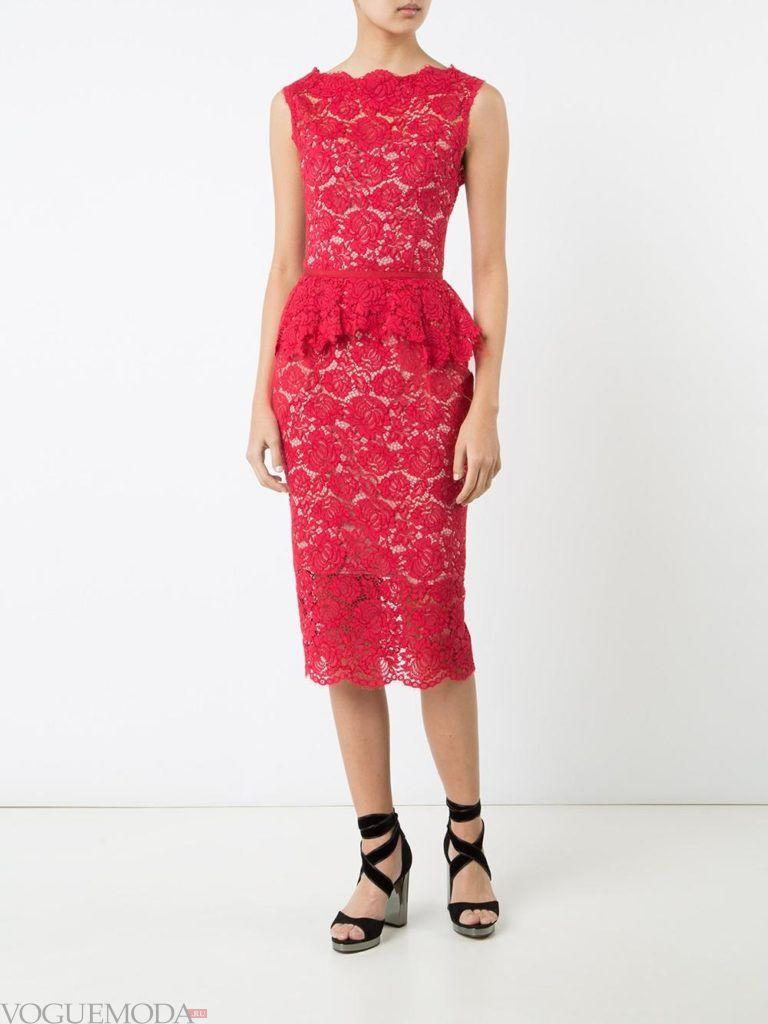 красное платье с баской для встречи года крысы