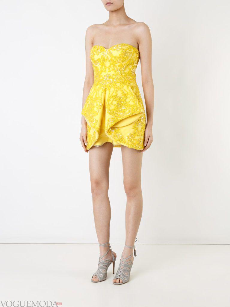 желтое платье для встречи года крысы короткое