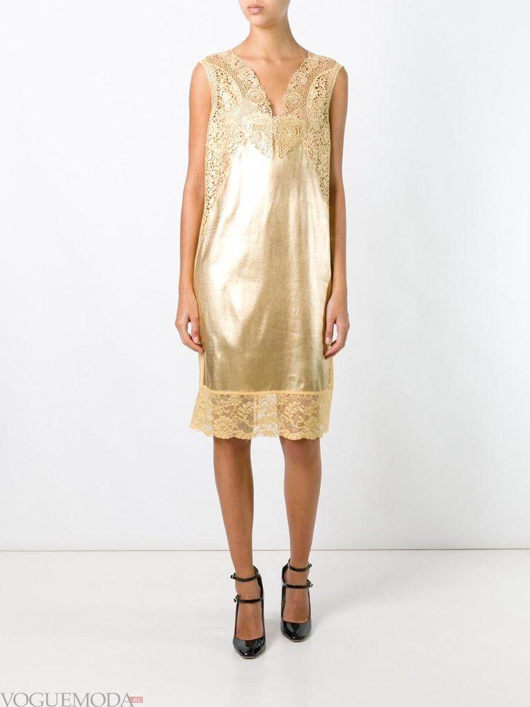 золотое платье с кружевом для встречи года крысы