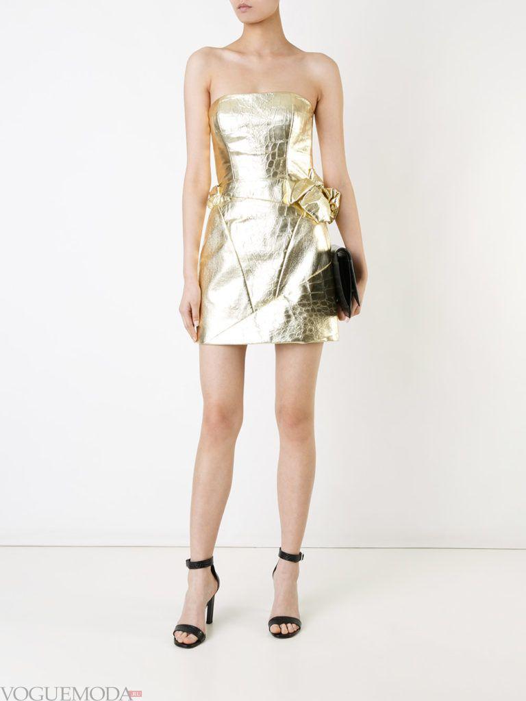 золотое платье короткое для встречи года крысы