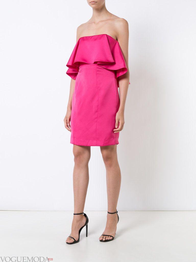 розовое платье с воланом для встречи года крысы