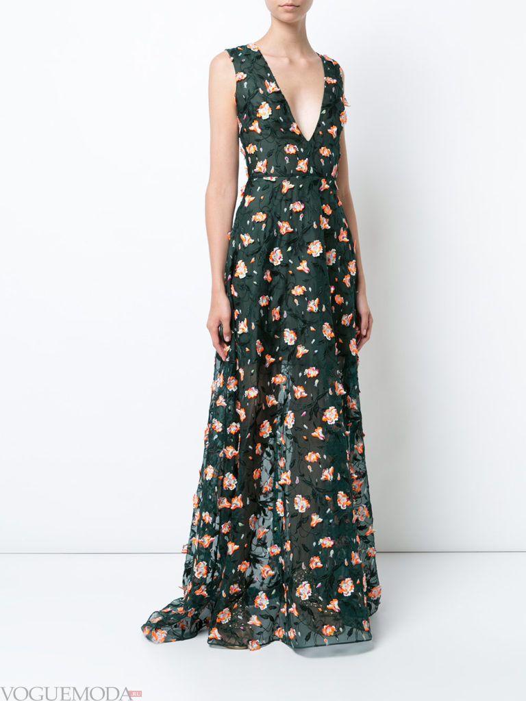 зеленое платье с принтом для встречи года крысы