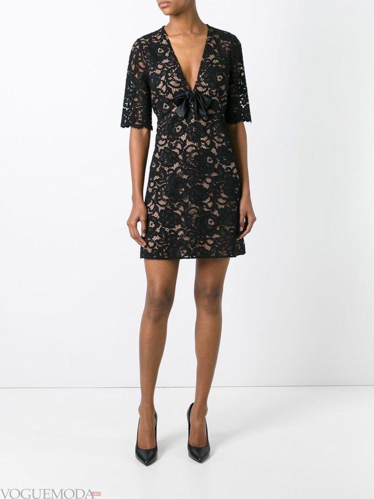 черное платье с кружевом для встречи года крысы