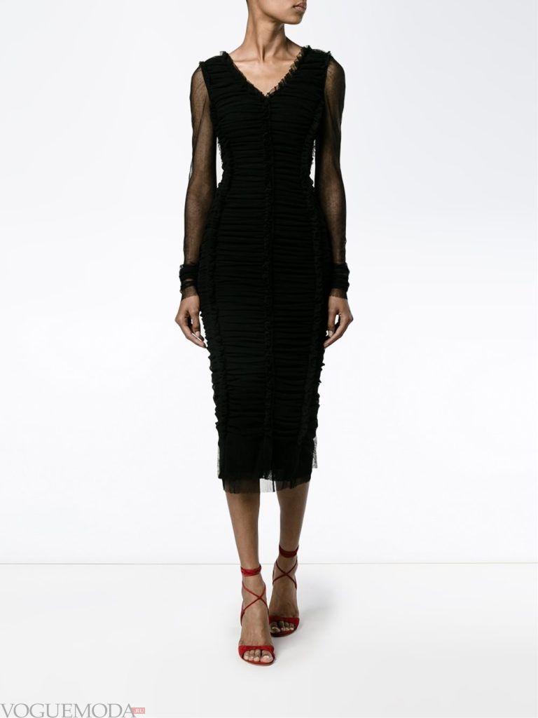 черное платье футляр для встречи года крысы