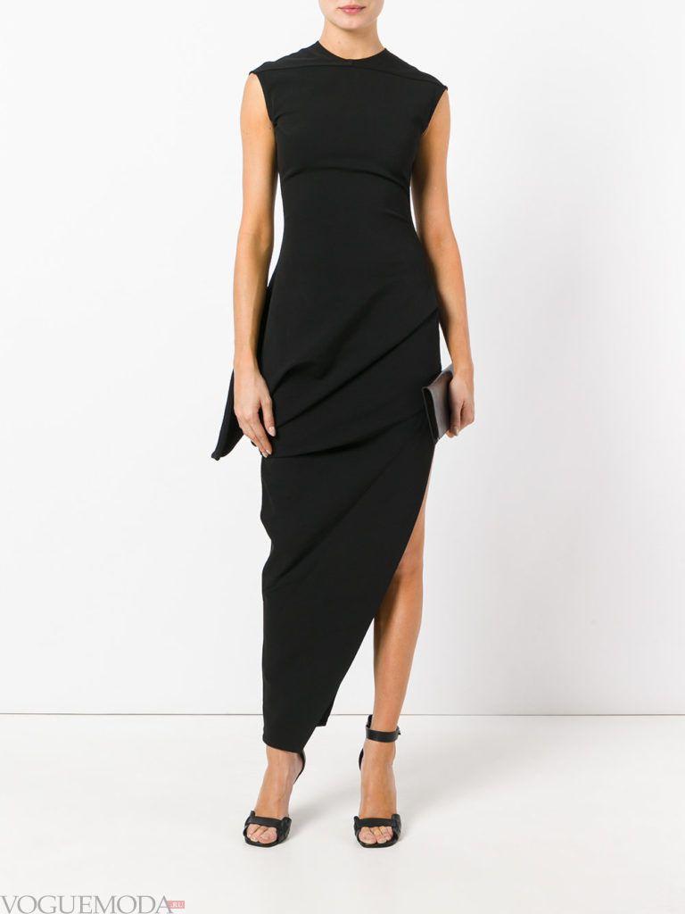 черное платье асимметричное для встречи года крысы