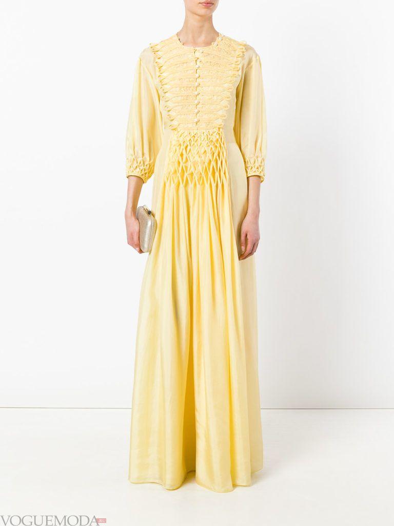желтое платье для встречи года крысы с длинными рукавами