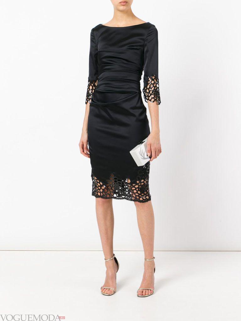 черное платье с декором для встречи года крысы