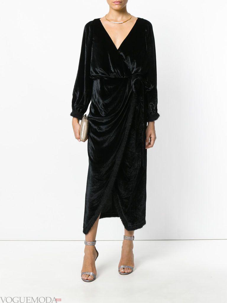 черное платье бархатное для встречи года крысы