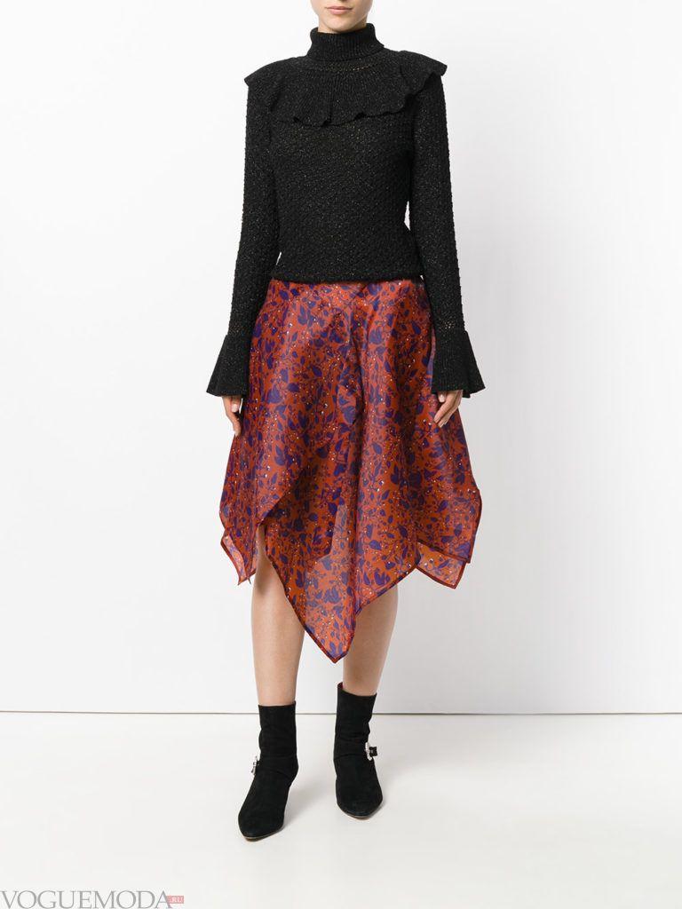 асимметричная юбка бордовая