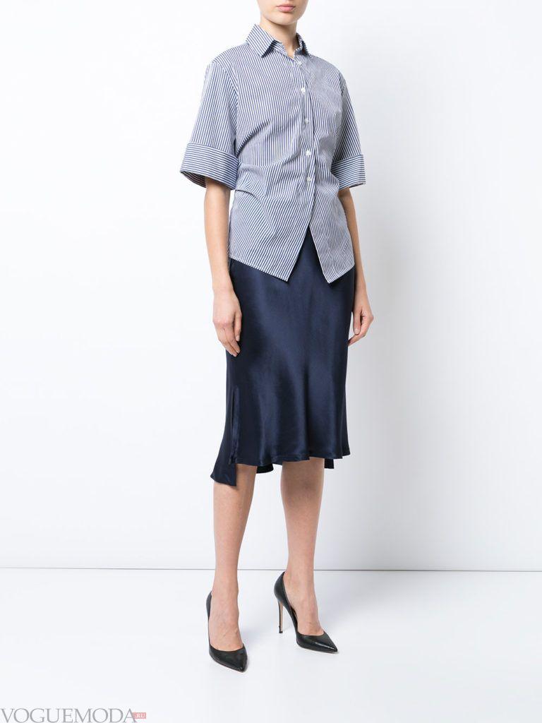 асимметричная юбка синяя