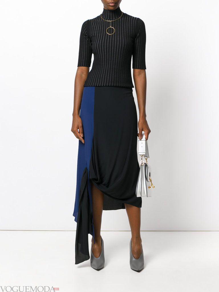 асимметричная юбка двухцветная
