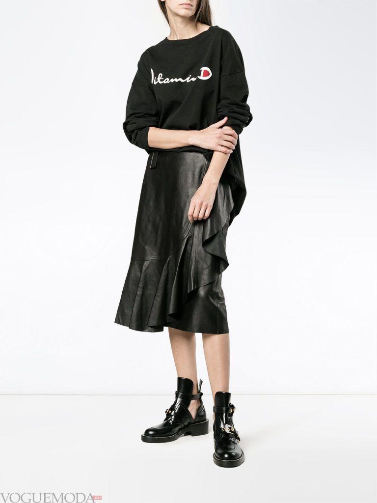 кожаная юбка черная