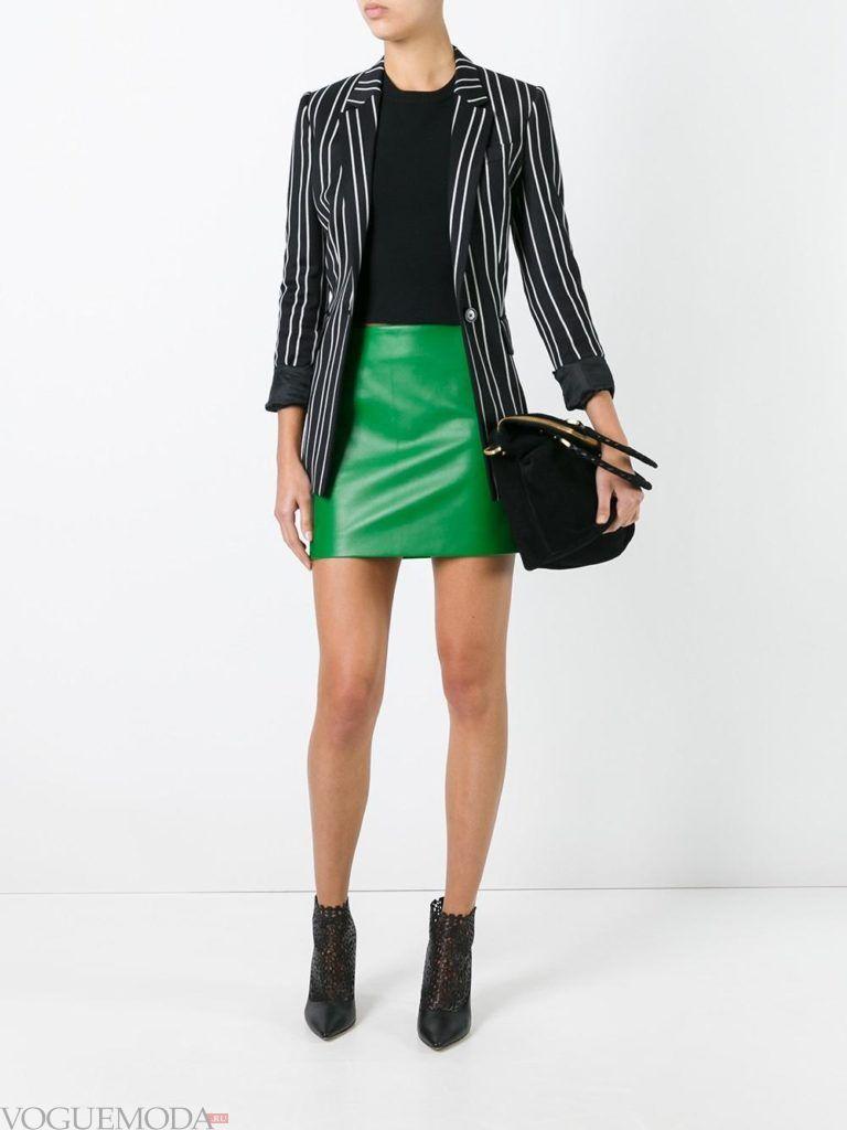 кожаная юбка зеленая