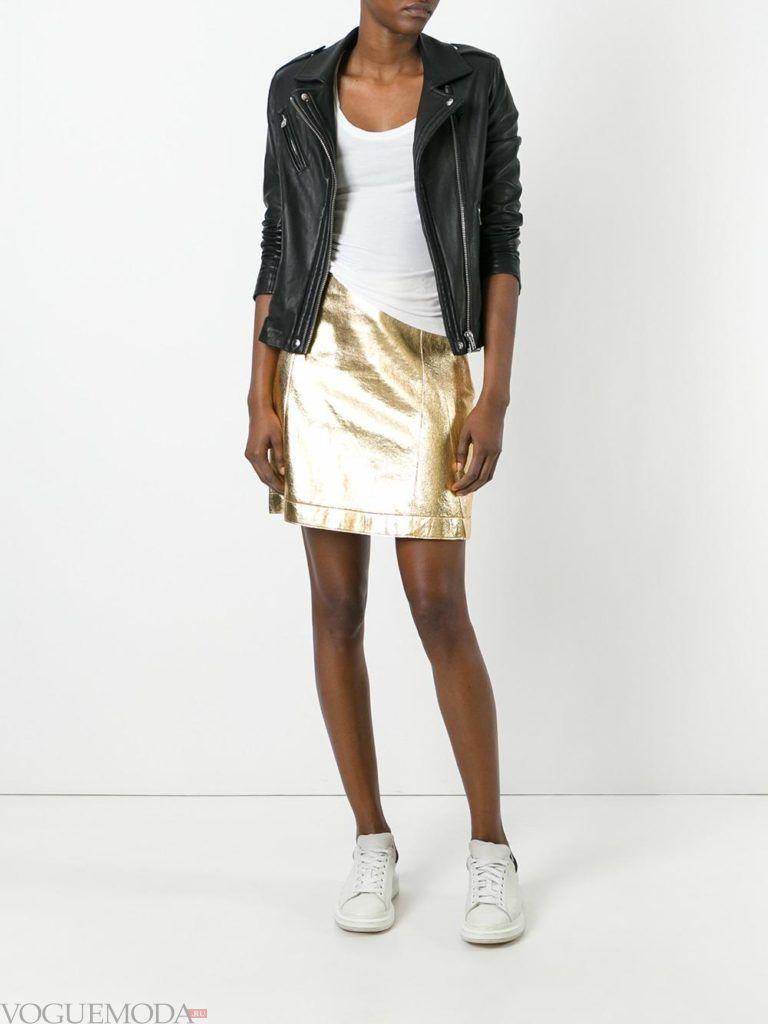 кожаная юбка золотая