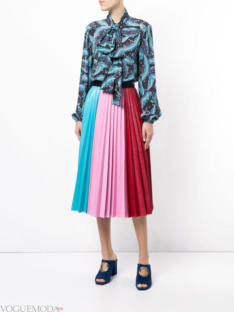 юбка плиссе разноцветная