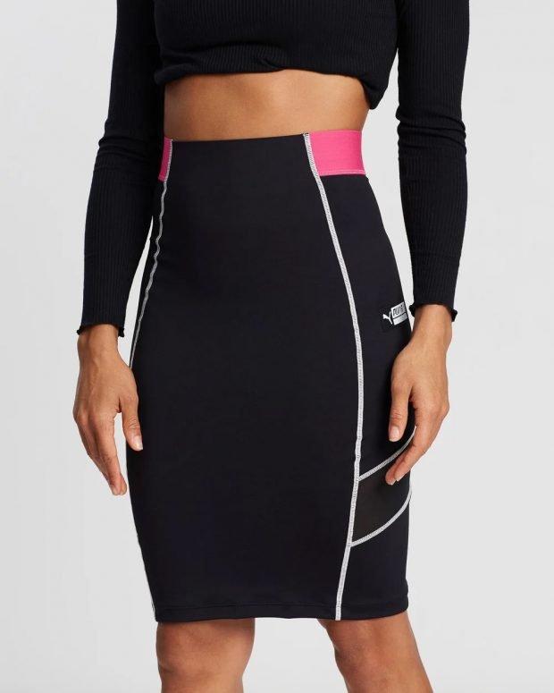 Юбки 2020: черная спортивная юбка