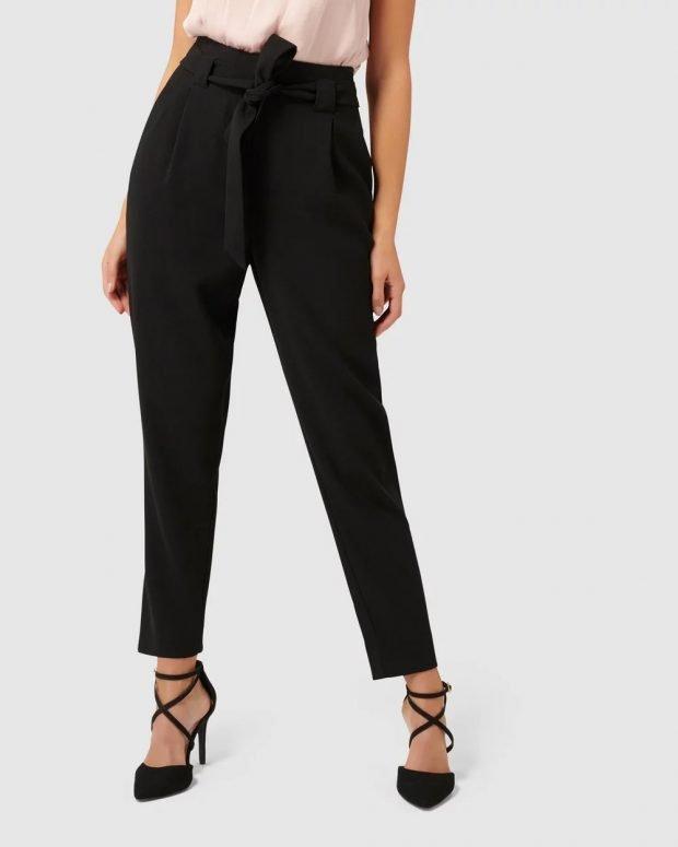 женские брюки 2019 2020: черные с поясом