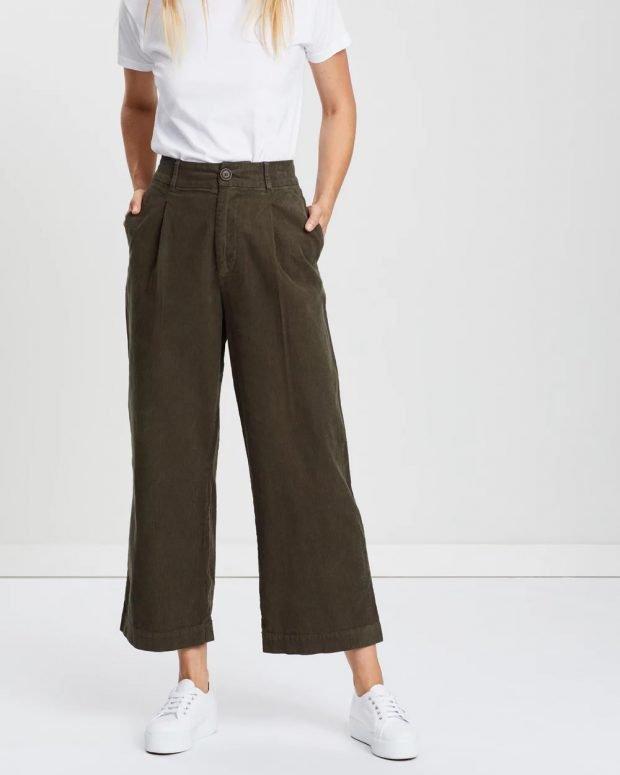 женские брюки 2019 2020: темно-зеленые широкие