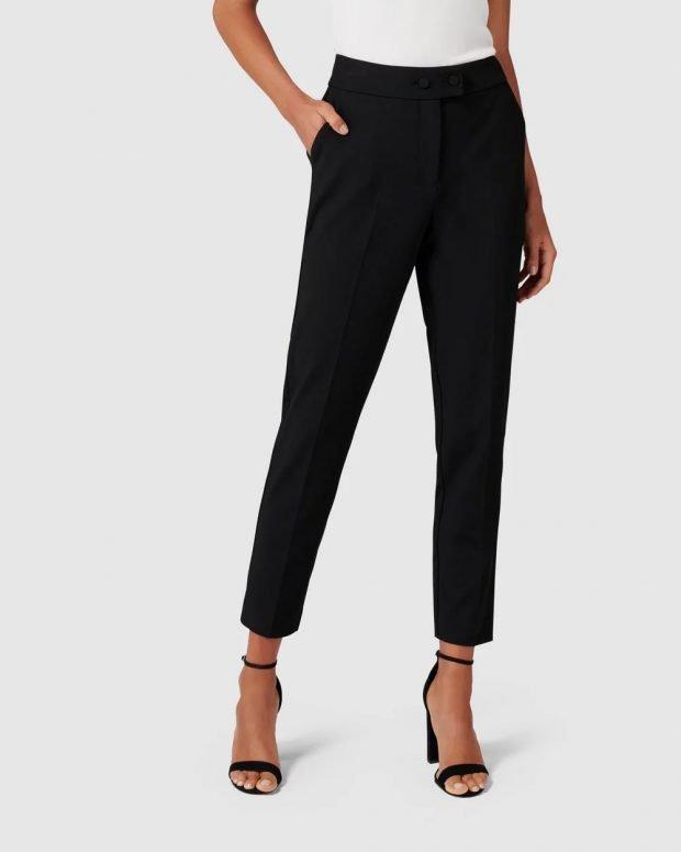 женские брюки 2019 2020: черные узкие укороченные