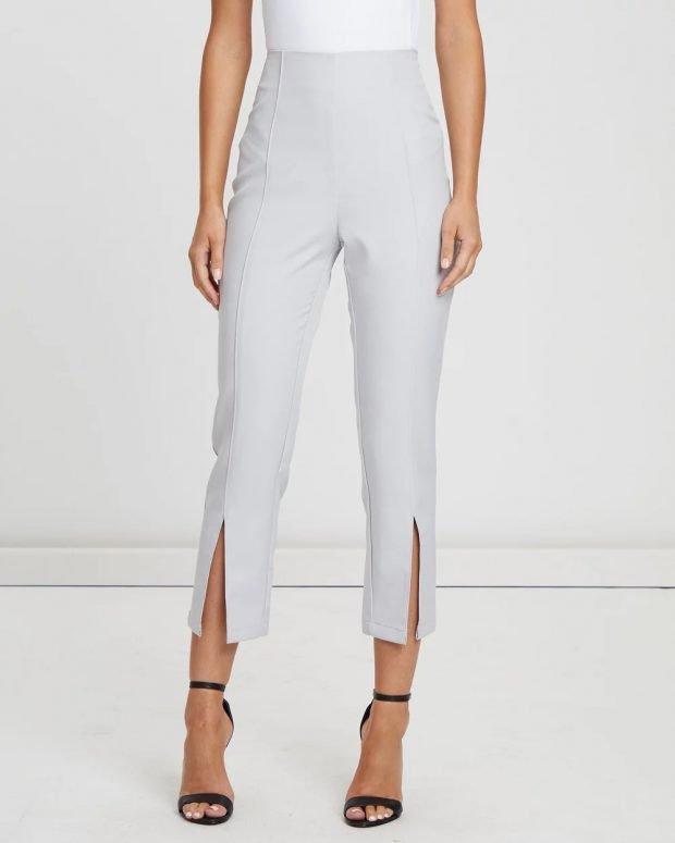 женские брюки 2019 2020: светло-серые с разрезом