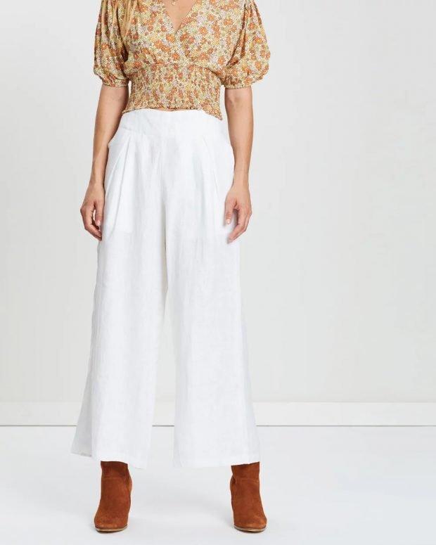 женские брюки 2019 2020: белые широкие