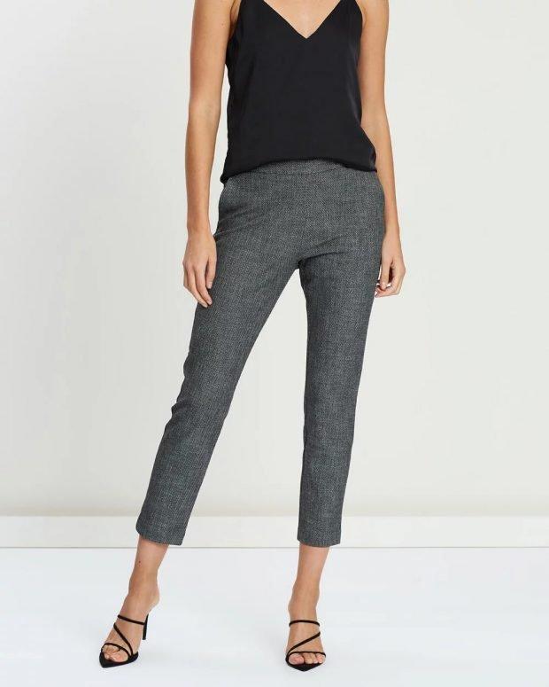женские брюки 2019 2020: темно-серые узкие