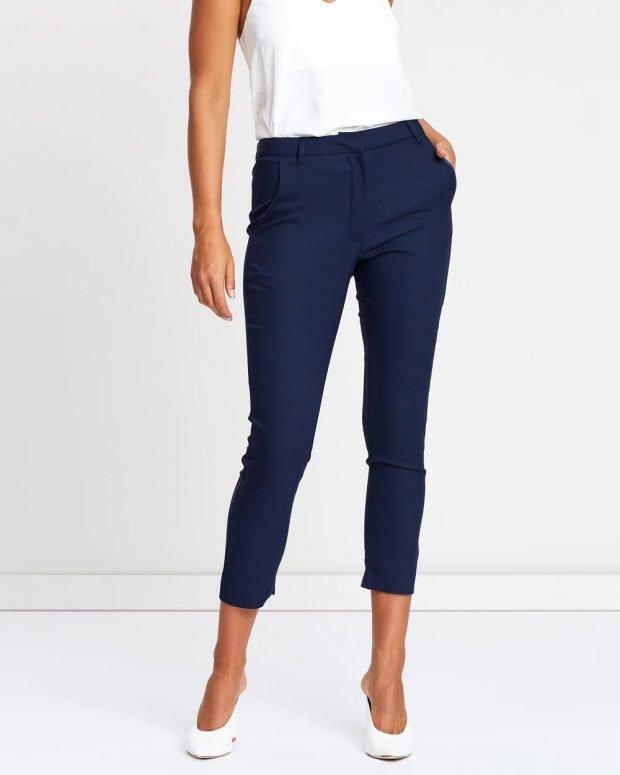 женские брюки 2019 2020: темно-синие укороченные