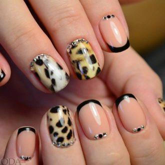 черный френч с леопардовым окрасом